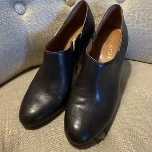 Dark brown leather COACH booties